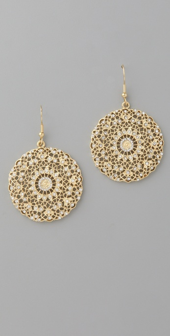 Kenneth Jay Lane Filigree Disc Earrings