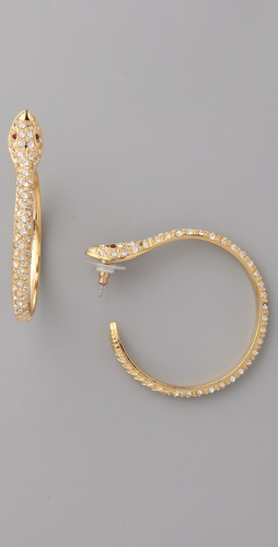 Kenneth Jay Lane Snake Pierced Hoops