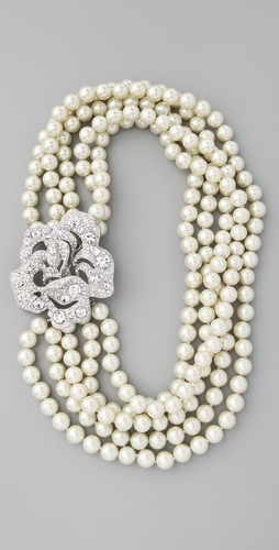 Kenneth Jay Lane Pearl & Crystal Necklace