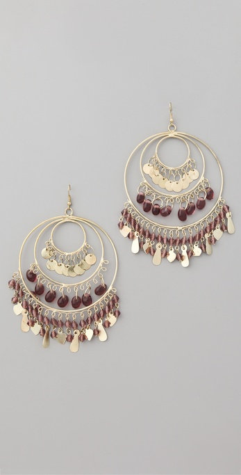 Kenneth Jay Lane Gold 3 Ring Gypsy Hoop Earrings