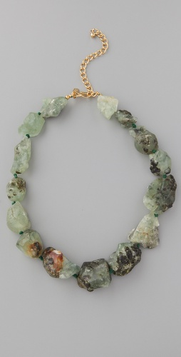 Kenneth Jay Lane Green Natural Rock Necklace