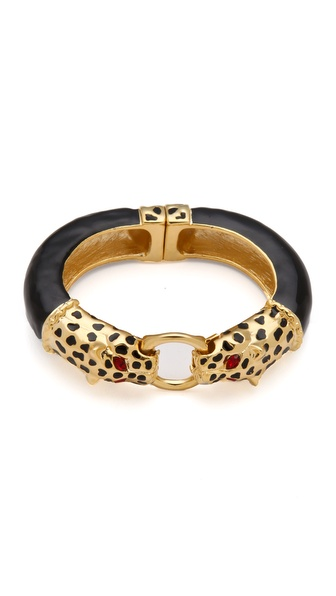 Kenneth Jay Lane Double Leopard Head Bracelet