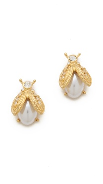 Kenneth Jay Lane Pearl Bee Earrings
