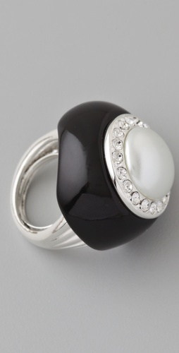 Kenneth Jay Lane Black Enamel and Pearl Ring