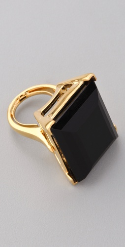 Kenneth Jay Lane Large Polished Gold & Jet Ring