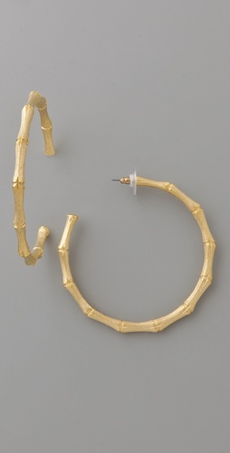 Kenneth Jay Lane Large Bamboo Hoop Earrings