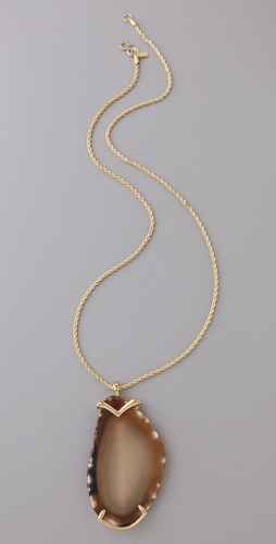 Kenneth Jay Lane Polished Stone Pendant Necklace