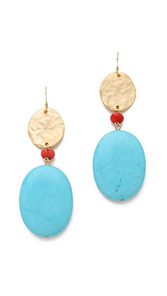 Kenneth Jay Lane Satin Gold Coin & Stone Earrings