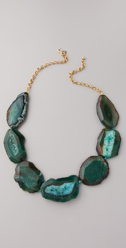 Kenneth Jay Lane Chain & Natural Stone Necklace