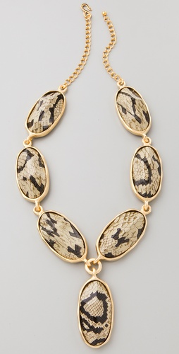 Kenneth Jay Lane Snake Print Stone Necklace