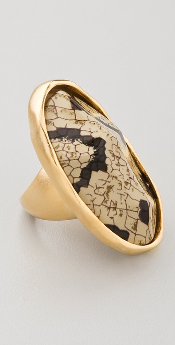 Kenneth Jay Lane Snake Print Oval Nugget Ring