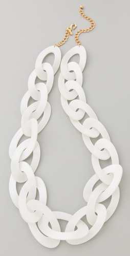 Kenneth Jay Lane Pearlized White Link Necklace