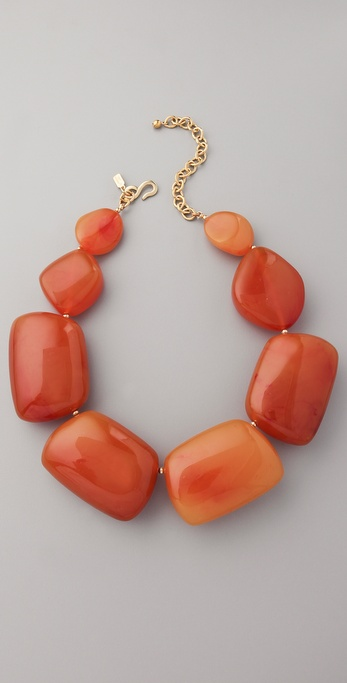 Kenneth Jay Lane Amber Pebble Necklace