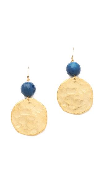 Kenneth Jay Lane Blue Agate & Gold Coin Earrings