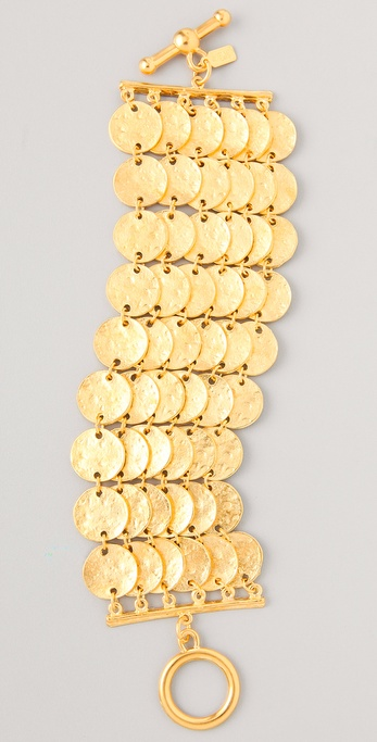 Kenneth Jay Lane Satin Gold Coin Bracelet