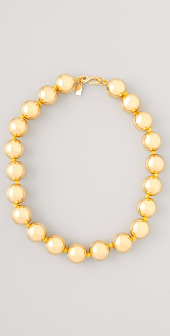 Kenneth Jay Lane Polished Gold Bead Necklace