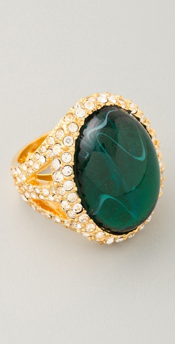 Kenneth Jay Lane Emerald & Rhinestone Cocktail Ring