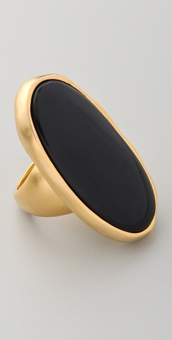 Kenneth Jay Lane Gold & Black Oval Ring