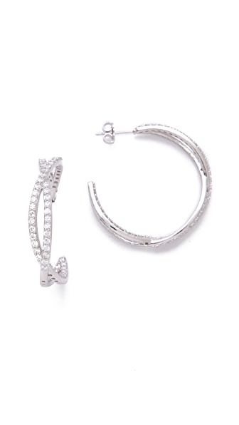 Kenneth Jay Lane Eternity Pave Hoop Earrings