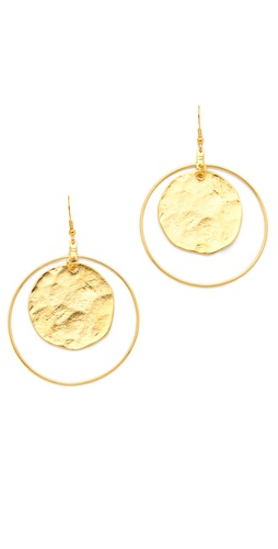 Kenneth Jay Lane Coin Hoop Earrings