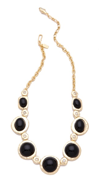 Kenneth Jay Lane Cabochon & Crystal Satin Gold Necklace