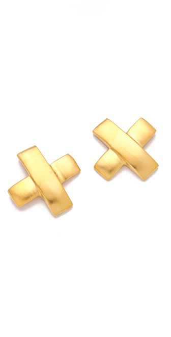 Kenneth Jay Lane Satin Gold X Earrings