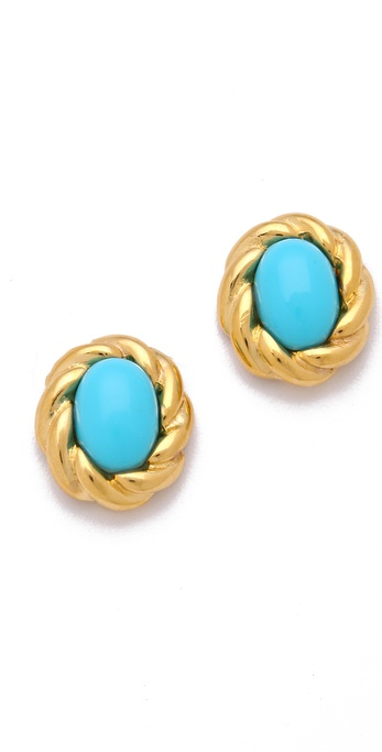 Kenneth Jay Lane Gold Twist Cabochon Stud Earrings