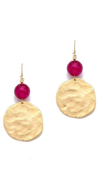Kenneth Jay Lane Cherry Agate & Gold Coin Earrings