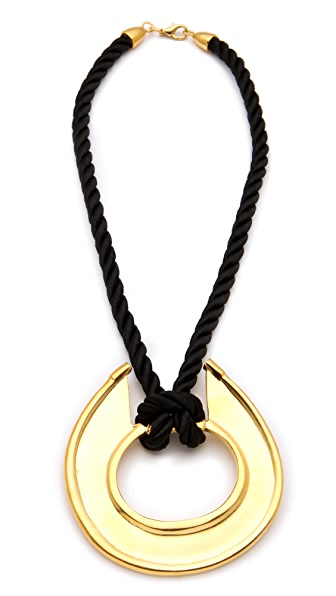Kenneth Jay Lane Black Satin Cord Pendant Necklace