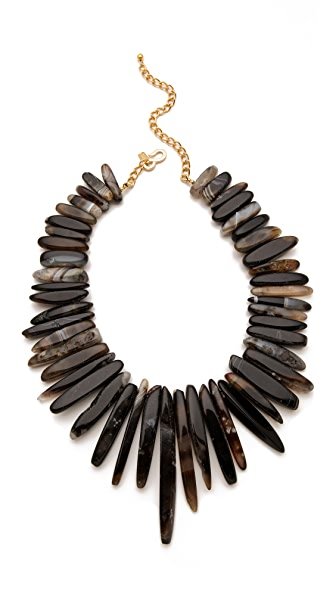 Kenneth Jay Lane Graduated Natural Agate Necklace