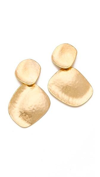 Kenneth Jay Lane Hammered Drop Earrings