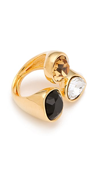 Kenneth Jay Lane Teardrop Crystal Trio Ring