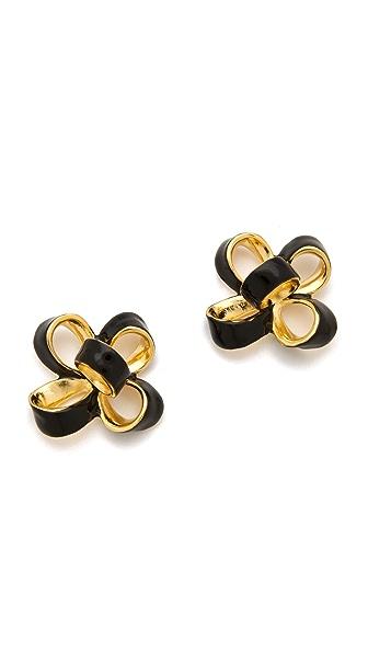 Kenneth Jay Lane Small Enamel Bow Earrings