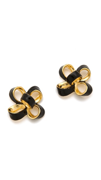 Kenneth Jay Lane Small Enamel Bow Earrings