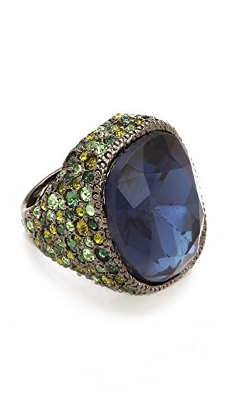Kenneth Jay Lane Cocktail Ring with Green & Sapphire