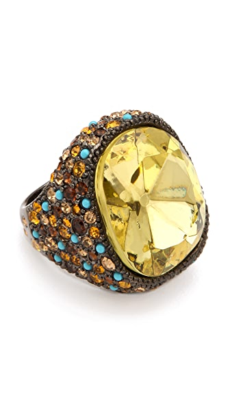 Kenneth Jay Lane Cocktail Ring with Topaz & Jonquil