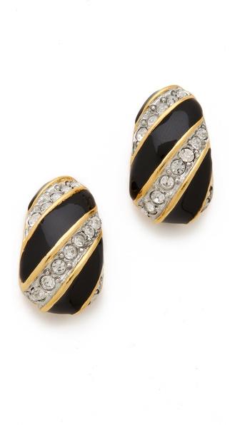 Kenneth Jay Lane Enamel & Crystal Half Hoop Earrings