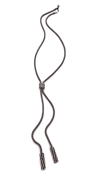 Kenneth Jay Lane Gunmetal & Crystal Lariat Necklace