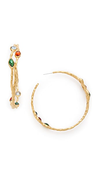 Kenneth Jay Lane Stone Hoop Earrings