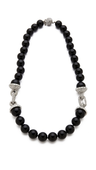 Kenneth Jay Lane Pave Link Beaded Necklace