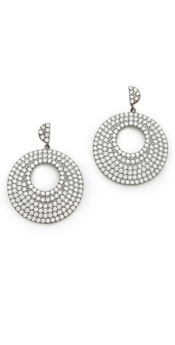 Kenneth Jay Lane Pave Disc Earrings