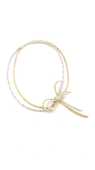 Kenneth Jay Lane Double Strand Bow Necklace