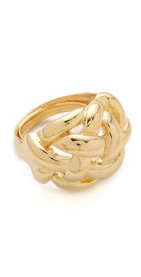 Kenneth Jay Lane Polished Gold Weave Ring