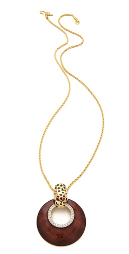 Kenneth Jay Lane Leopard Disc Pendant Necklace