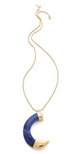 Kenneth Jay Lane Large Lapis Tusk Pendant Necklace