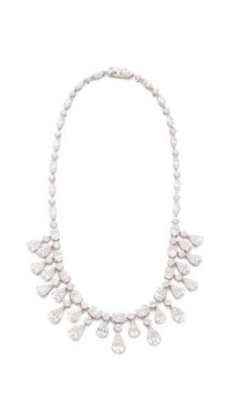 Kenneth Jay Lane Oval & Pear Drop CZ Fringe Necklace