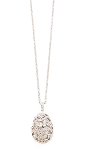 Kenneth Jay Lane Faberge Egg Pendant Necklace