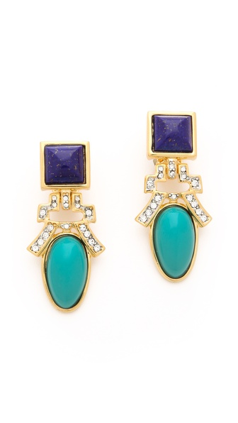 Kenneth Jay Lane Drop Deco Clip Earrings