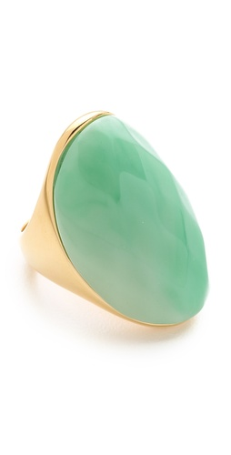Kenneth Jay Lane Faceted Oval Stone Ring