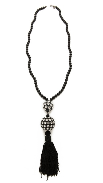 Kenneth Jay Lane Ball Drop Black Tassel Necklace